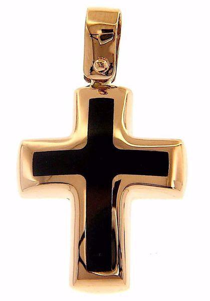 Immagine di Croce nera Ciondolo Pendente Moda gr 1,7 Oro rosa 18kt con Onice Unisex Donna Uomo