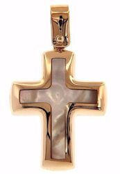 Picture of Cross Fashion Pendant gr 1,7 Rose Gold 18k with white Mother of Pearl Unisex Woman Man