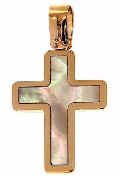 Picture of Cross Fashion Pendant gr 1,6 Rose Gold 18k with white Mother of Pearl Unisex Woman Man