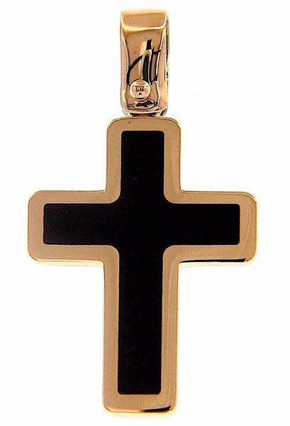 Picture of Black Cross Fashion Pendant gr 1,5 Rose Gold 18k with Onyx Unisex Woman Man