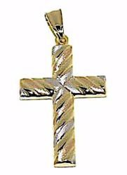 Picture of Decorated Straight Cross Pendant gr 1,45 Tricolor yellow white and rose Gold 18k Hollow Tube Unisex Woman Man