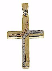Picture of Decorated Straight Cross Pendant gr 1,5 Tricolor yellow white and rose Gold 18k Hollow Tube Unisex Woman Man