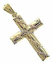 Picture of Cross with twisted thorns Pendant gr 1,4 Tricolor yellow white and rose Gold 18k Hollow Tube Unisex Woman Man