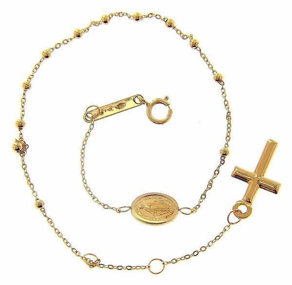 Immagine di Bracciale Rosario con Medaglia Madonna Miracolosa e Croce gr 0,9 Oro giallo 9kt Unisex Donna Uomo