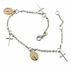 Picture of Rosary Cuff Bracelet with 2 Miraculous Virgin Mary Medals and 3 Crosses gr 4,4 Bicolour rose and white Gold 18k with Smooth Spheres for Woman