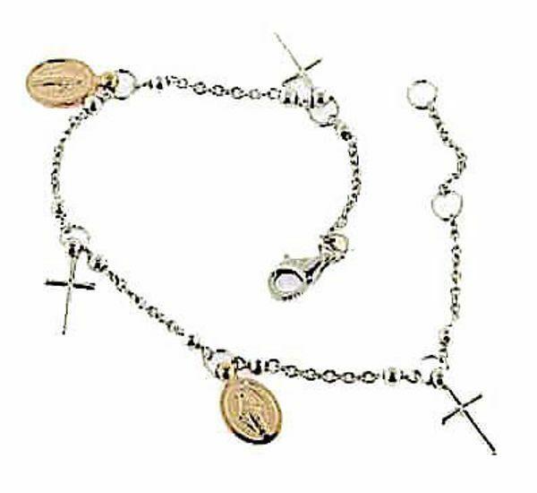 Imagen de Brazalete Pulsera Rosario con 2 Medallas Nuestra Señora Milagrosa y 3 Cruces gr 4,4 Bicolor Oro blanco y rosa 18kt con Esferas lisas para Mujer