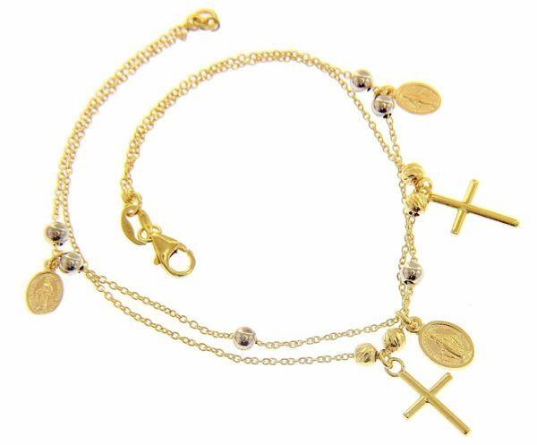 Imagen de Brazalete Pulsera Rosario 3 Medallas Nuestra Señora Milagrosa 2 Cruces gr 3,7 Bicolor Oro blanco y amarillo 18kt Esferas lisas y diamantadas para Mujer
