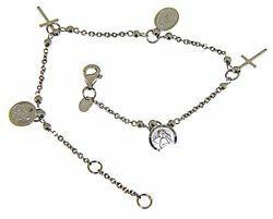 Immagine di Bracciale Rosario con 3 Medaglie e 2 Croci gr 4,7 Oro bianco 18kt con Sfere lisce Donna Bimba Bimbo