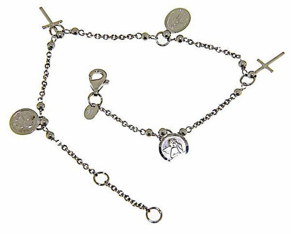 Imagen de Brazalete Pulsera Rosario con 3 Medallas y 2 Cruces gr 4,7 Oro blanco 18kt con Esferas lisas para Mujer y para Niña y Niño