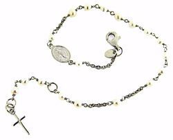 Picture of Rosary Cuff Bracelet with Miraculous Medal of Our Lady of Graces and Cross gr 3,1 White Gold 18k with Pearls for Woman