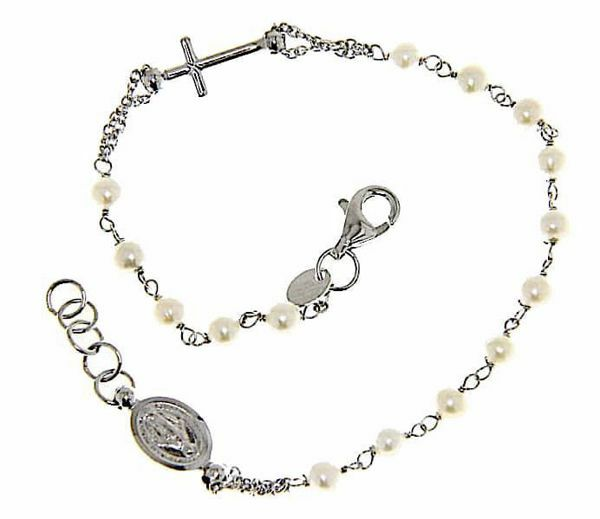 Picture of Rosary Cuff Bracelet with Miraculous Medal of Our Lady of Graces and Cross and through Chain gr 3,2 White Gold 18k with Pearls for Woman
