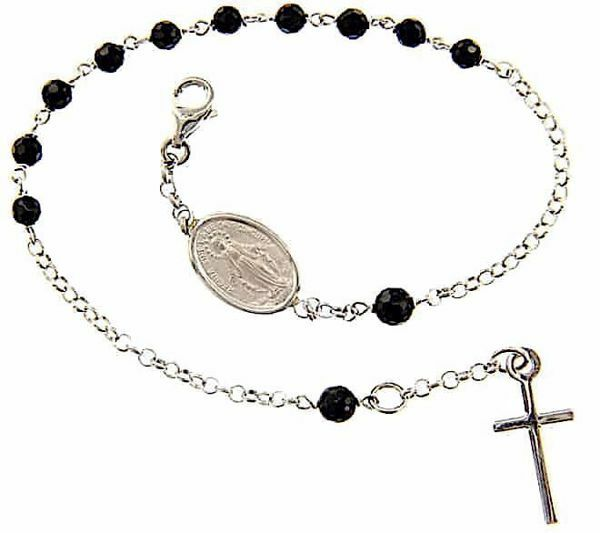 Picture of Rosary Cuff Bracelet with Miraculous Medal of Our Lady of Graces and Cross gr 4,2 White Gold 18k with Onyx Unisex Woman Man