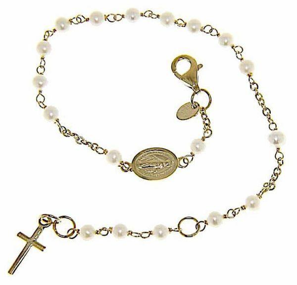 Imagen de Brazalete Pulsera Rosario con Medalla Nuestra Señora Milagrosa y Cruz gr 3,1 Oro amarillo 18kt con Perlas para Mujer y para Niña y Niño