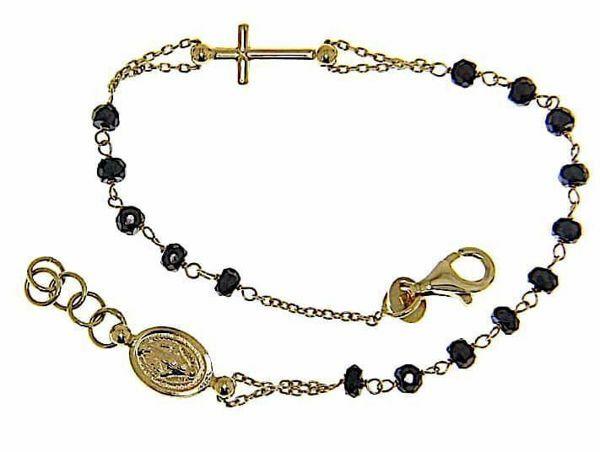 Imagen de Brazalete Pulsera Rosario con Medalla Nuestra Señora Milagrosa y Cruz cadena pasante gr 3,6 Oro amarillo 18kt con Onyx para Mujer
