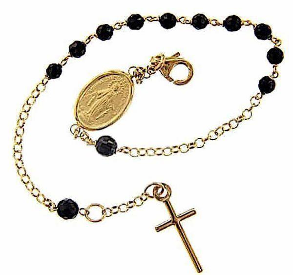 Imagen de Brazalete Pulsera Rosario con Medalla Nuestra Señora Milagrosa y Cruz gr 4,3 Oro amarillo 18kt con Onyx Unisex Mujer Hombre