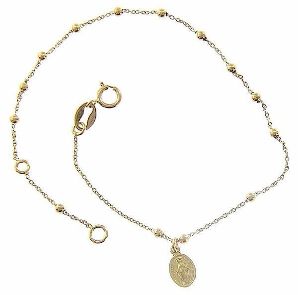 Imagen de Brazalete Pulsera Rosario con Medalla Nuestra Señora Milagrosa gr 1,1 Oro amarillo 18kt con Esferas lisas  Unisex Mujer Hombre Niña Niño