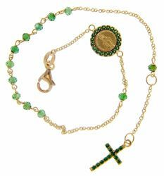 Picture of Rosary Cuff Bracelet with Miraculous Medal of Our Lady of Graces Cross and Light Spots gr 2,8 Yellow Gold 18k with green Zircons for Woman, Boy and Girl