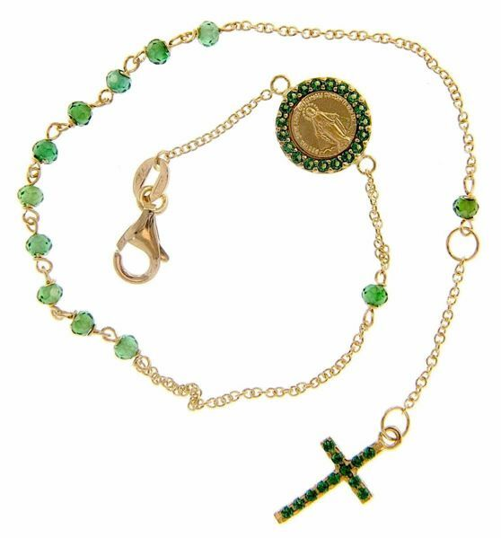 Picture of Rosary Cuff Bracelet with Miraculous Medal of Our Lady of Graces Cross and Light Spots gr 2,8 Yellow Gold 18k with green Zircons for Woman
