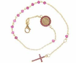 Picture of Rosary Cuff Bracelet with Miraculous Medal of Our Lady of Graces Cross Light Spots and Ruby gr 2,8 Yellow Gold 18k with red Zircons for Woman and Girl