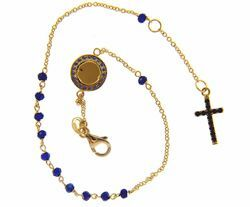 Picture of Rosary Cuff Bracelet with Miraculous Medal of Our Lady of Graces Cross Light Spots and Sapphire gr 2,8 Yellow Gold 18k with blue Zircons for Woman