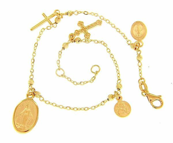Picture of Rosary Cuff Bracelet With 3 Medals and 2 Crosses gr 5 Yellow Gold 18k with diamond Spheres for Woman, Boy and Girl