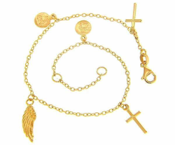 Picture of Rosary Cuff Bracelet with 2 Crosses and symbols of Faith gr 4 Yellow Gold 18k  for Woman, Boy and Girl