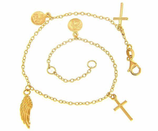 Immagine di Bracciale Rosario Con 2 croci e simboli di fede gr 4 Oro giallo 18kt Donna Bimba Bimbo