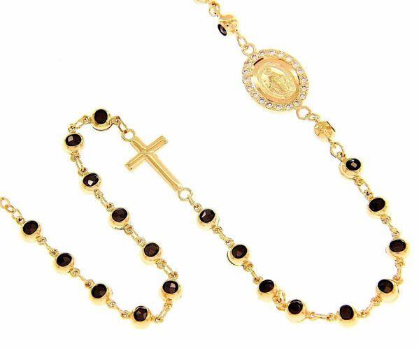 Imagen de Brazalete Pulsera Rosario Medalla Nuestra Señora Milagrosa y Cruz puntos de luz gr 9 Oro amarillo 18kt con Zircones y Granates negros Unisex Mujer Hombre