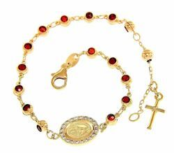 Picture of Rosary Cuff Bracelet Miraculous Medal of Our Lady of Graces Cross and Light Spots gr 5,6 Yellow Gold 18k with Zircons and red Garnets for Woman, Boy and Girl