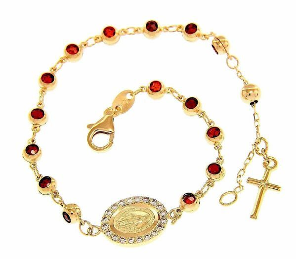 Imagen de Brazalete Pulsera Rosario Medalla Nuestra Señora Milagrosa y Cruz puntos de luz gr 5,6 Oro amarillo 18kt con Zircones y Granates rojos para Mujer y para Niña y Niño