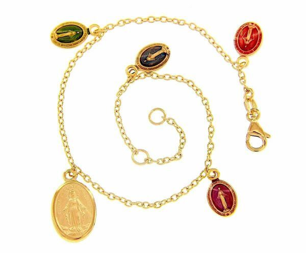 Picture of Rosary Cuff Bracelet with 5 Miraculous Virgin Mary Medals gr 5,5 Yellow Gold 18k with colored Enamels for Woman, Boy and Girl