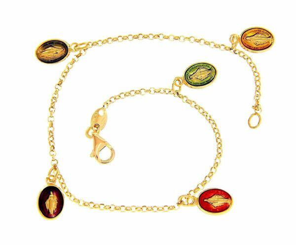 Picture of Rosary Cuff Bracelet with 5 Miraculous Virgin Mary Medals gr 3,8 Yellow Gold 18k with colored Enamels for Woman, Boy and Girl