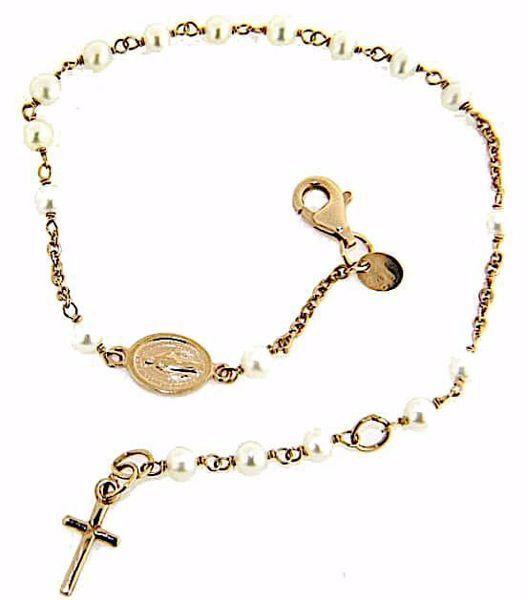 Imagen de Brazalete Pulsera Rosario con Medalla Nuestra Señora Milagrosa y Cruz gr 3,1 Oro rosa 18kt con Perlas para Mujer