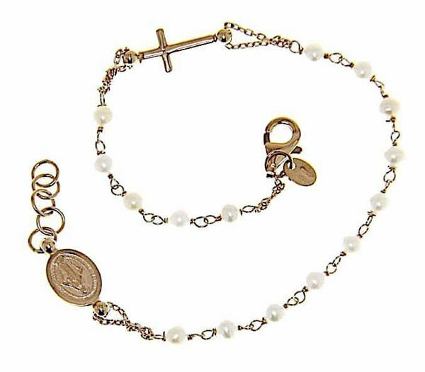Picture of Rosary Cuff Bracelet with Miraculous Medal of Our Lady of Graces and Cross and through Chain gr 3,2 Rose Gold 18k with Pearls for Woman