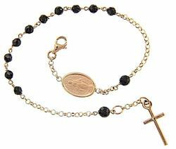 Picture of Rosary Cuff Bracelet with Miraculous Medal of Our Lady of Graces and Cross gr 3,8 Rose Gold 18k with Onyx Unisex Woman Man