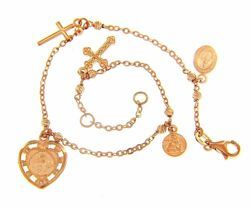 Picture of Rosary Cuff Bracelet 2 Crosses, 3 Medals Miraculous Virgin Mary, Blessed Virgin of Carmel and Angel gr 4,9 Rose Gold 18k diamond Spheres  for Woman, Boy and Girl