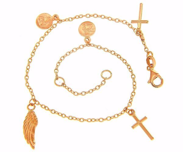 Picture of Rosary Cuff Bracelet with 2 Crosses and symbols of Faith gr 4 Rose Gold 18k for Woman