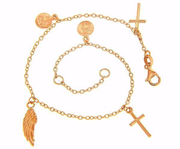 Imagen de Brazalete Pulsera Rosario Con 2 Cruces y Símbolos de Fe gr 4 Oro rosa 18kt para Mujer