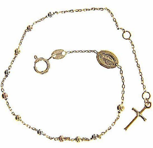 Imagen de Brazalete Pulsera Rosario Medalla Nuestra Señora Milagrosa y Cruz gr 2,3 Tricolor Oro blanco amarillo rosa 18kt con Esferas diamantadas para Mujer