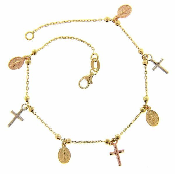 Immagine di Bracciale Rosario con 4 Medaglie Madonna Miracolosa e 3 Croci gr 3 Tricolor Oro giallo bianco e rosa 18kt da Donna