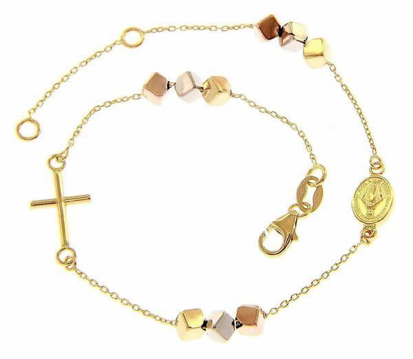 Picture of Rosary Cuff Bracelet with Miraculous Medal of Our Lady of Graces and Cross gr 2,3 Tricolor yellow white rose Gold 18k with Cubes for Woman