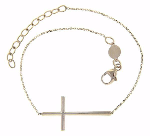 Imagen de Brazalete Pulsera Moda con Cruz gr 2 Oro blanco 18kt para Mujer