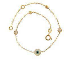 Imagen de Brazalete Pulsera con Ojo de Alá y 2 biseles puntos de Luz gr 1,45 Oro amarillo 18kt con Zircones y Esferas diamantadas para Mujer