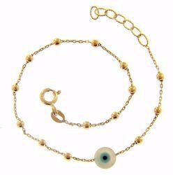 Immagine di Bracciale Occhio di Allah gr 1,55 Oro giallo 18kt con Sfere diamantate da Donna