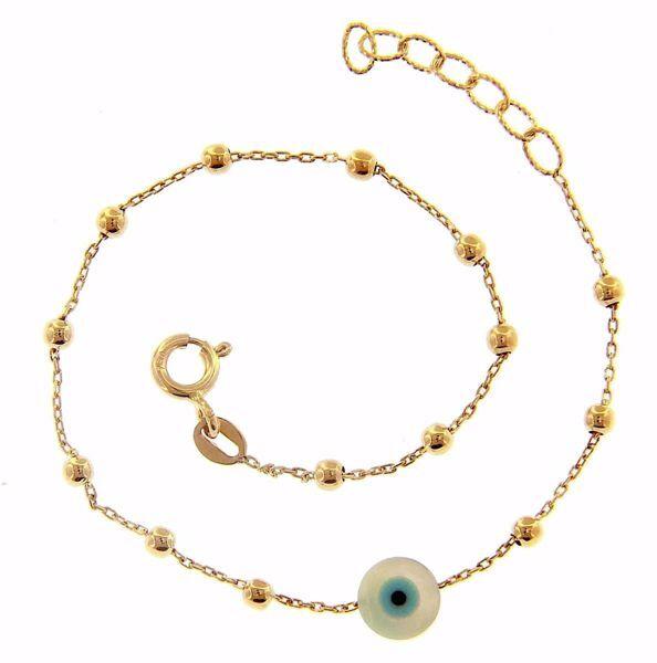 Imagen de Brazalete Pulsera Ojo de Alá gr 1,55 Oro amarillo 18kt con Esferas diamantadas para Mujer