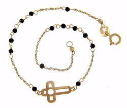 Immagine di Bracciale con Croce grande traforata gr 0,9 Oro giallo 18kt con Zirconi neri da Donna
