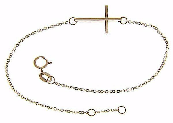 Immagine di Bracciale Moda con Croce dritta gr 1,4 Oro rosa 18kt da Donna