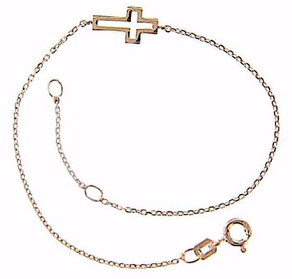 Immagine di Bracciale Moda con Croce aperta gr 1,5 Oro rosa 18kt da Donna