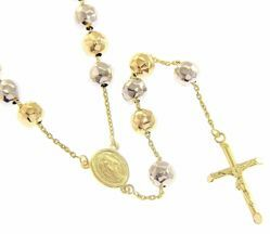 Picture of Long Rosary Necklace Miraculous Medal of Our Lady of Graces and Cross gr 33 Bicolour yellow and white Gold 18k Diamond Spheres for Woman