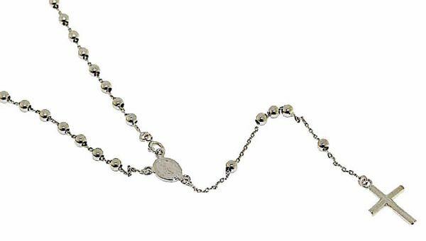 Imagen de Collar Rosario Cuello Redondo con Medalla Nuestra Señora Milagrosa y Cruz gr 5,4 Oro blanco 18kt con Esferas lisas para Mujer